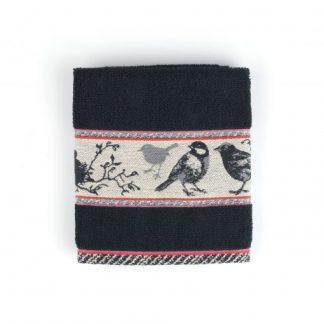 Bunzlau Handdoek Birds Black